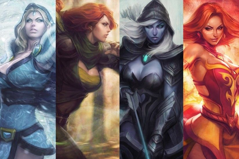 Wallpaper Dota 2, Lina, Windrunner, Drow ranger, Crystal maiden, Heroine,  Game