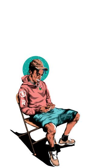 This would be good for a front cover because its effective as its a cartoon  picture. Travis Scott ...