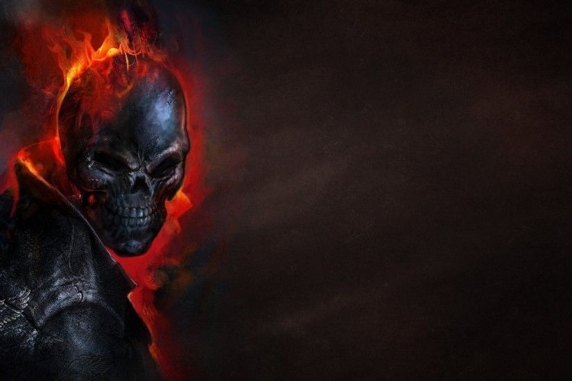 ghost rider ghost rider skeleton skull fire dark background