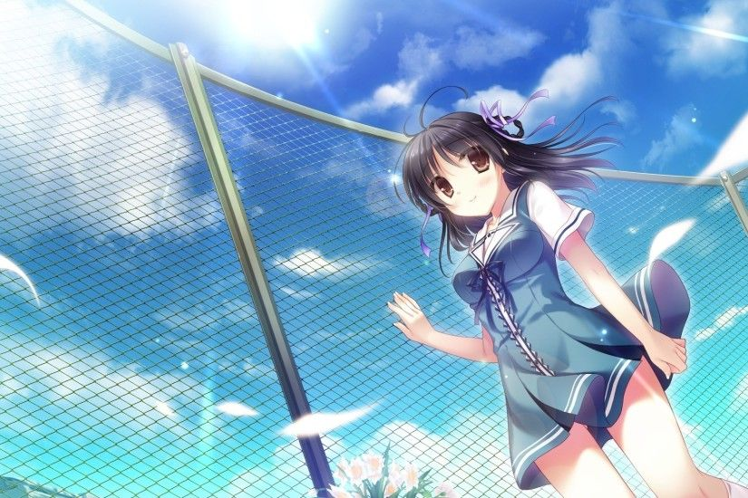2048x1152 Wallpaper sky, anime, girl