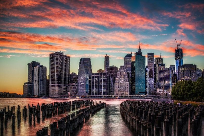 New York Skyline Sunset - wallpaper.