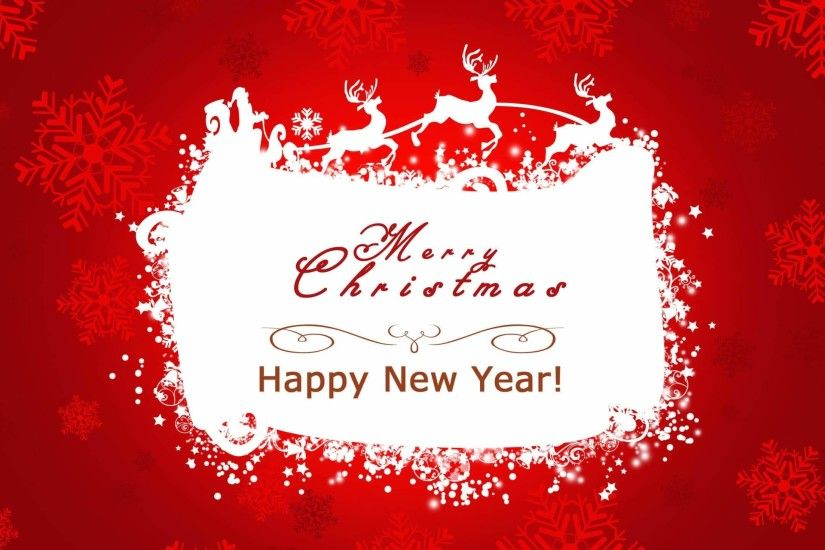 Red happy new year and merry christmas wallpaper.