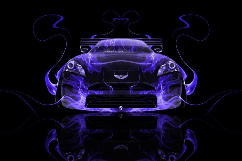 Hyundai-Genesis-Coupe-Art-Front-Violet-Fire-Abstract- ...