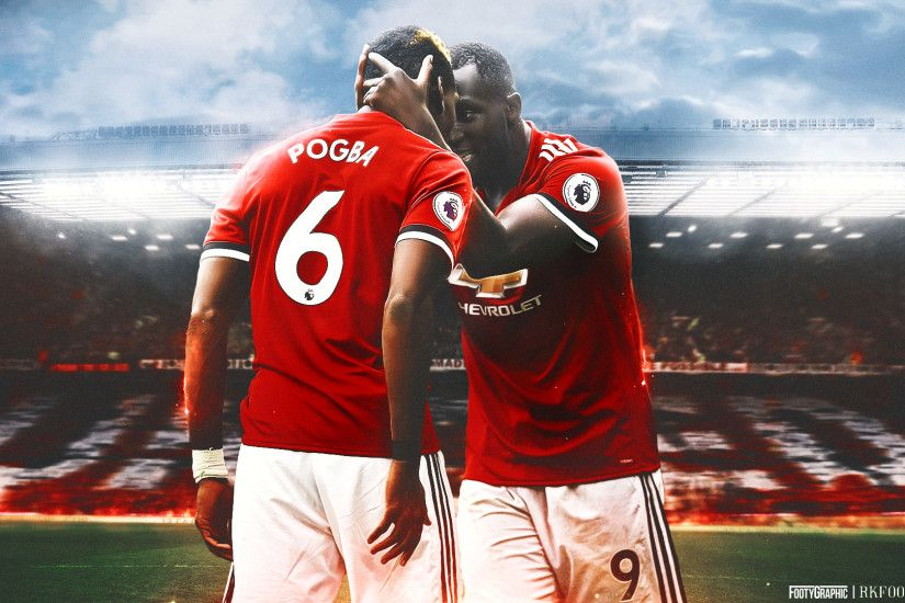 Desktop wallpaper of Manchester United players Paul Pogba and Romelu Lukaku  during the 2017/18 season. Collab with RKfootydesigns