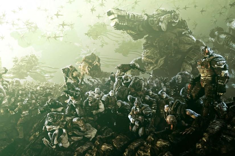 Preview wallpaper gears of war, army, soldiers, birds, monsters 1920x1080
