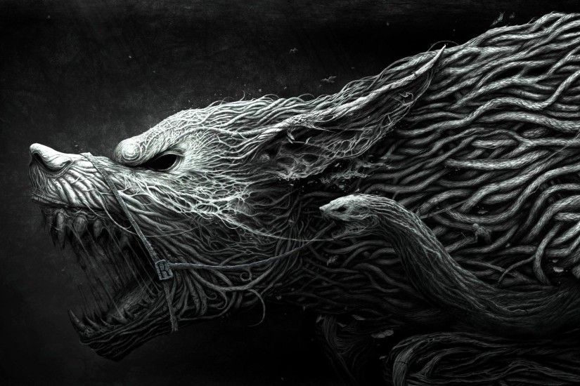 Preview wallpaper wolf, teeth, drawing, aggression, black, white 1920x1080