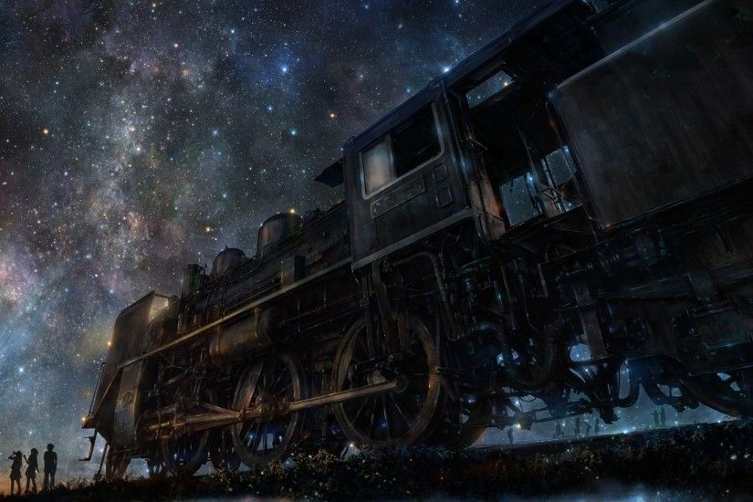 Preview wallpaper iy tujiki, art, night, train, anime, starry sky 1920x1080