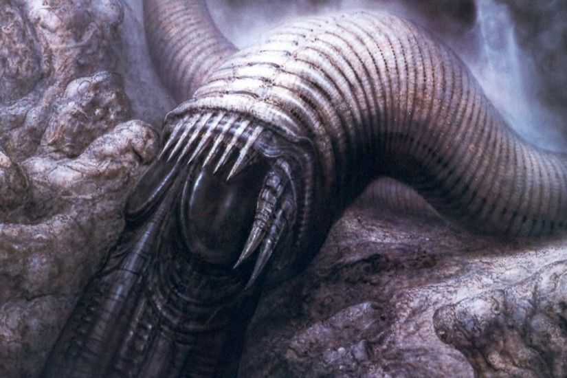H R Giger Art Artwork Dark Evil Artistic Horror Fantasy Sci-fi Worm  Creature Monster Dune Wallpaper At Dark Wallpapers