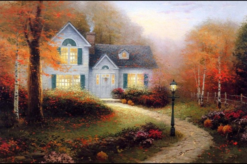 Picture Pictorial art Thomas Kinkade the blessings of autumn