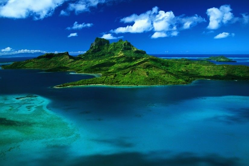 Bora Bora aerial view Wallpaper Landscape Nature Wallpapers