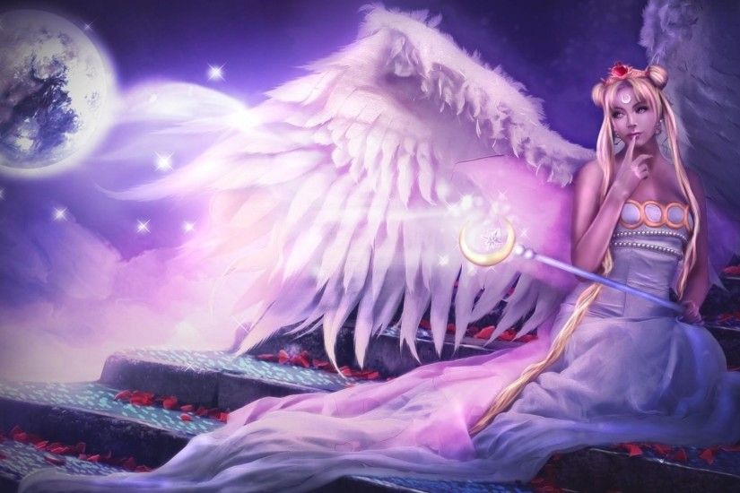 1920x1080 Wallpaper angel, wings, sitting, stairs, petals, night, planet