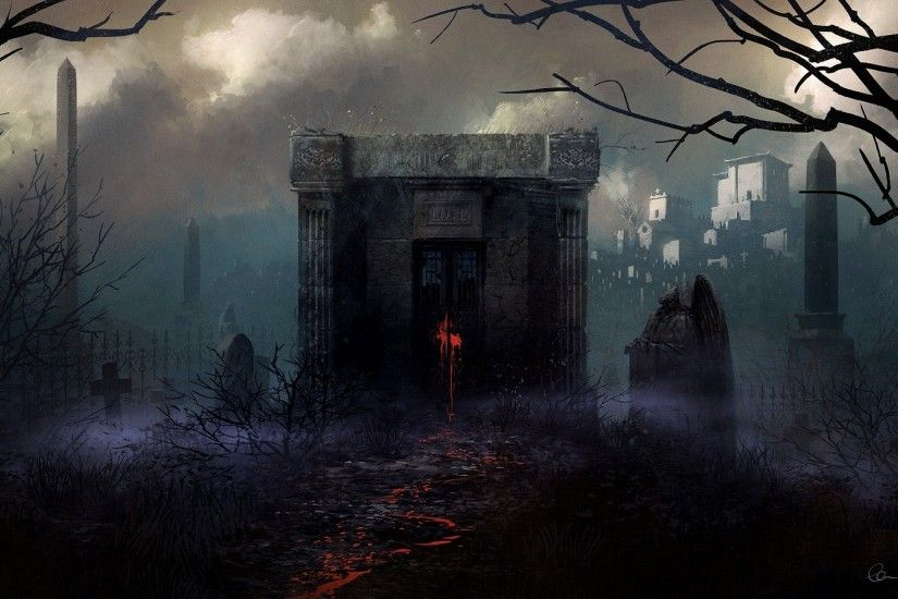 Graveyard, Gothic, Fantasy World, Painting, Horror, Dark Theme, Fog