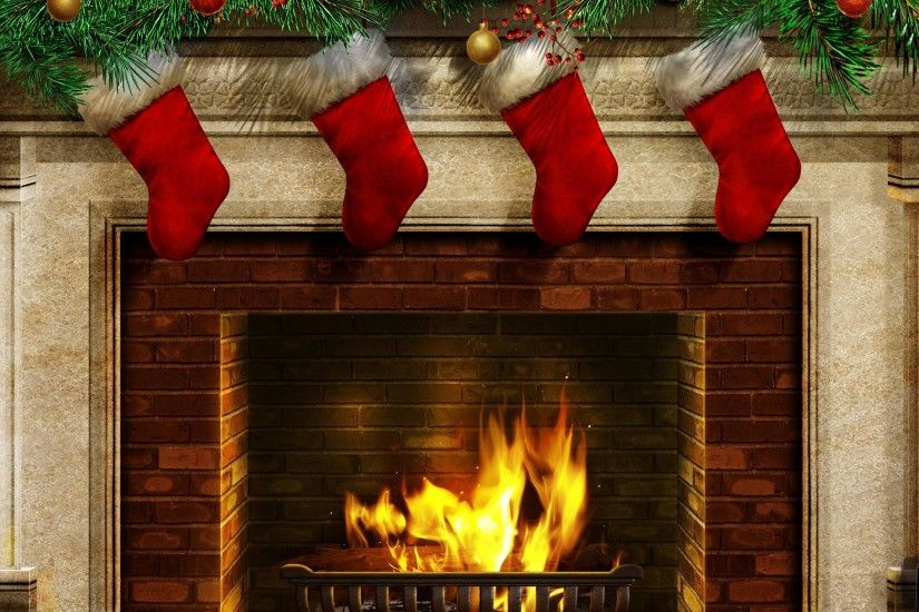 <b>Free</b> Christmas <b>Fireplace Wallpapers</