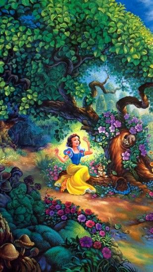 1080x1920 Wallpaper snow white, fairy forest, trees, house, fairy tale