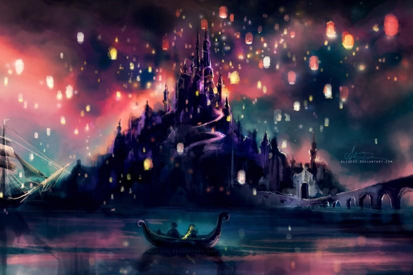 castles lights ships Tangled artwork alice x zhang wallpaper