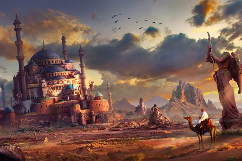 Statue cacti art pursue ruins feng liu the city fantasy castle wallpaper |  3808x1650 | 112999 | WallpaperUP