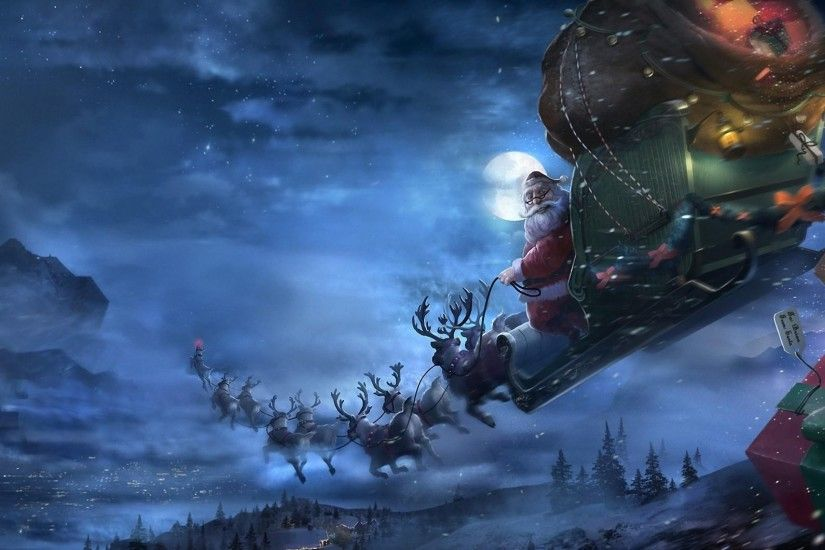Preview wallpaper santa claus, reindeer, sleigh, flying, gifts, christmas  3840x2160
