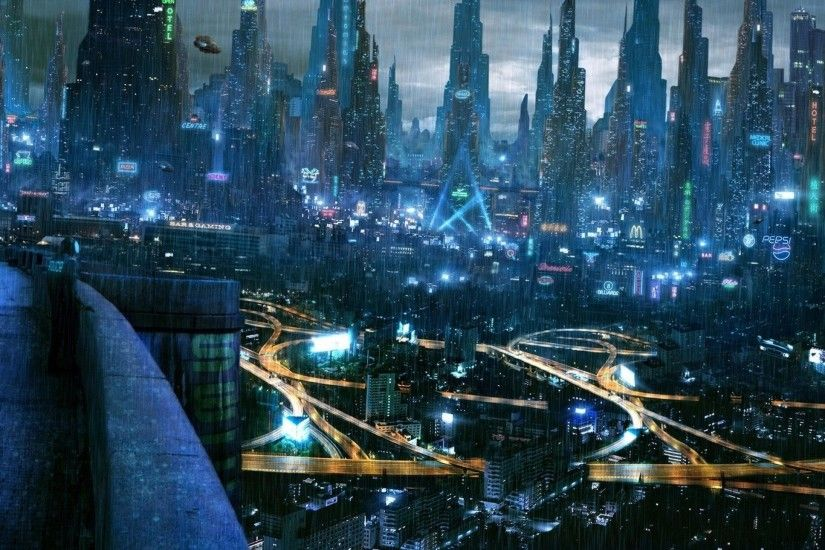 HD-Rainy-futuristic-city-Wallpaper