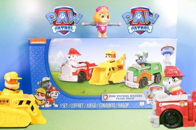 PAW PATROL Nickelodeon Rocky, Marshall, Rubble Racer Toys Video Unboxing -  YouTube