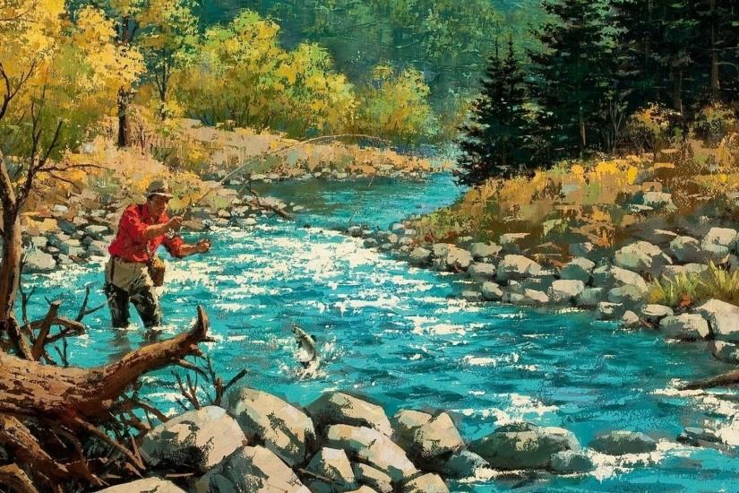 FISHING fish sport fishes river autumn painting artwork wallpaper .