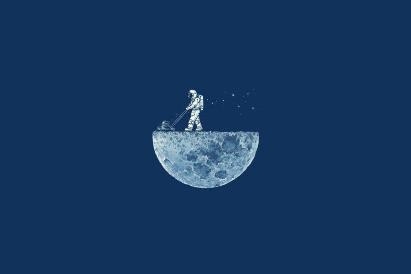 space, Minimalism, Blue Background, Moon, Astronaut, Astronauts, Humor  Wallpapers HD / Desktop and Mobile Backgrounds