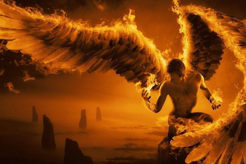 Preview wallpaper angel, wings, fire, fog, rocks 1920x1080