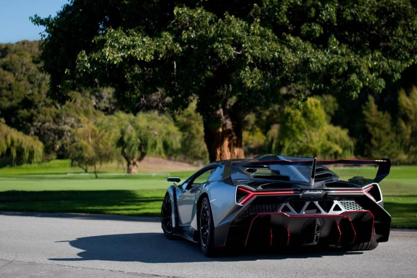 3840x2160 Wallpaper lamborghini, veneno, supercar, rear view, nature