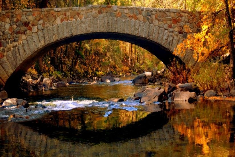1920x1080 Bridge in autumn desktop PC and Mac wallpaper