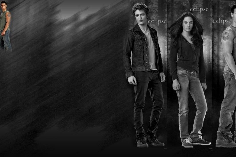 The Twilight Bella Swan(Kristen Stewart) and Jacob Black(Taylor Lautner)  Edward Cullen(Robert Pattinson) wallpaper