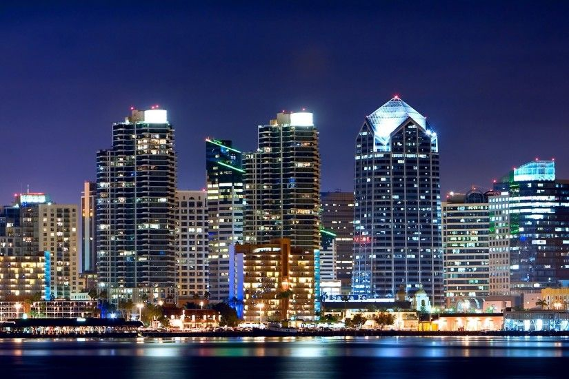 3840x2160 Wallpaper san - diego, night, california, usa, skyscrapers,  lights,
