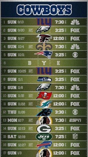 Cowboys Field Schedule Wallpaper (Mobile)