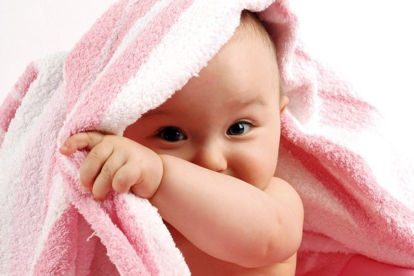 Cute happy baby in pink towel hd images