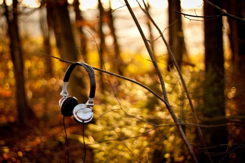 Headphones in the Woods wallpapers and stock photos