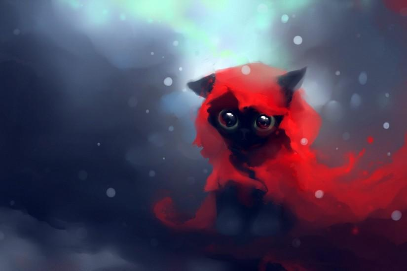 red cats DeviantART artwork kittens Apofiss Red Riding Hood wallpaper