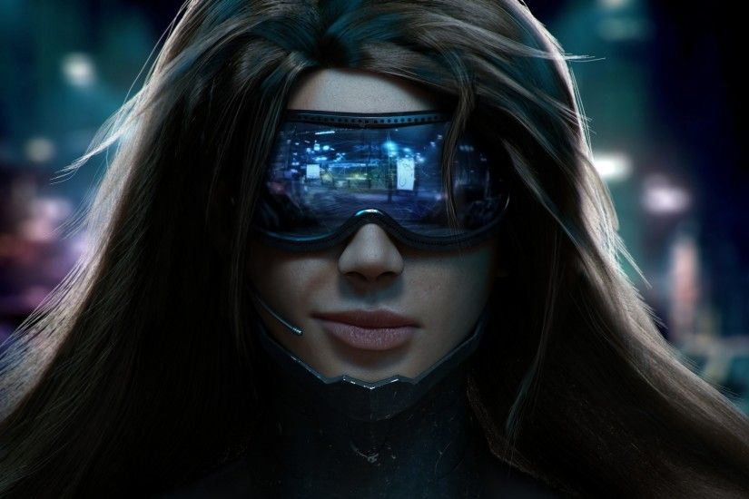 Wallpaper : face, people, video games, women, model, portrait, cyberpunk,  sunglasses, anime, glasses, futuristic, blue, headsets, pilot, head, ...