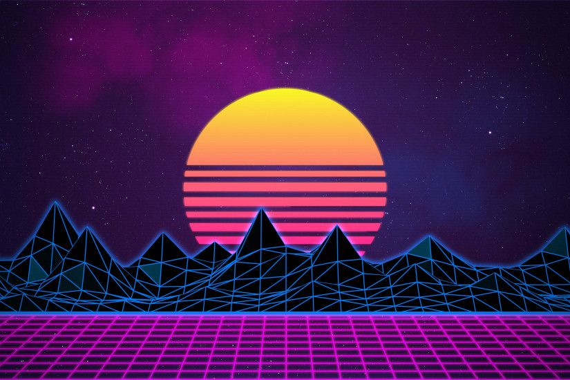 Synthwave - Neon 80s - Background - 4K