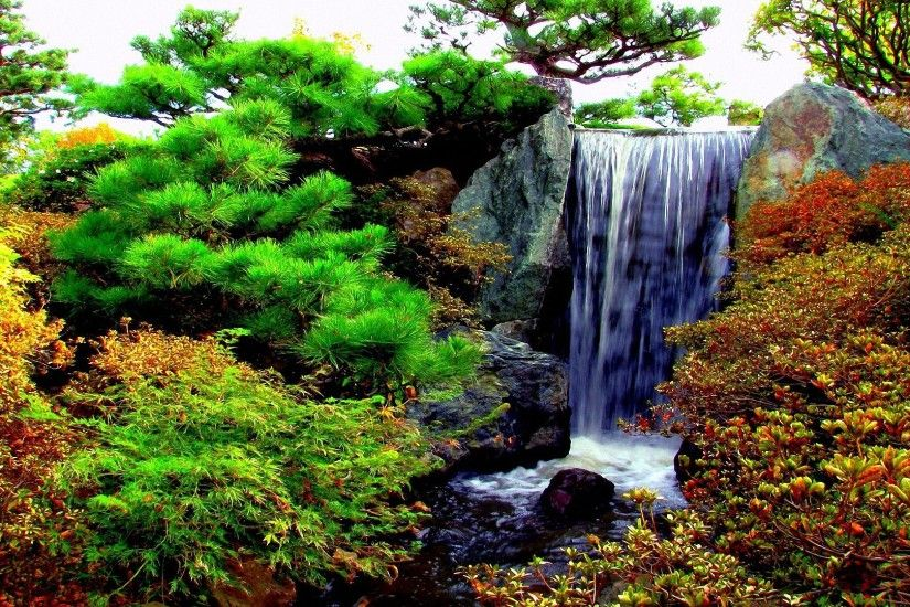 cool garden waterfalls hd backgrounds
