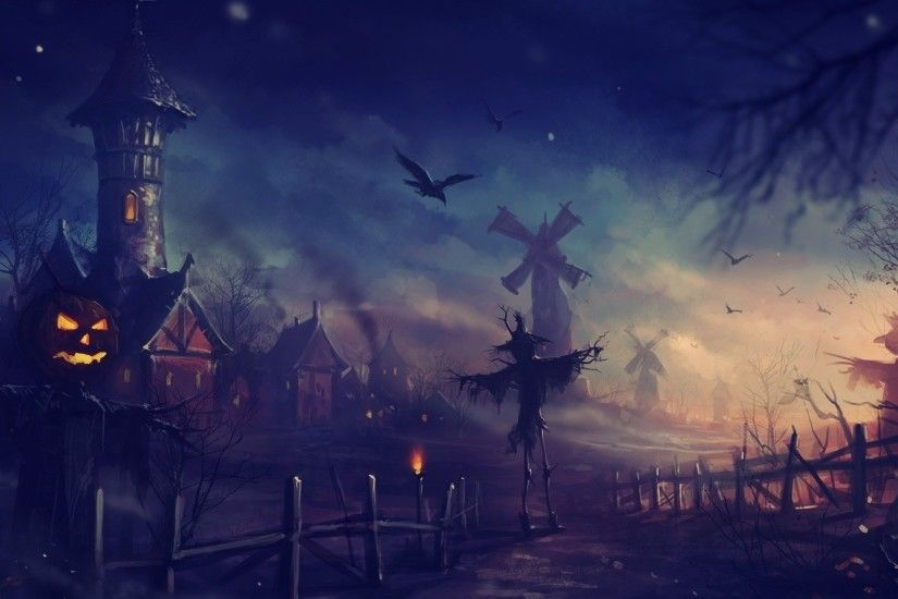 Mill, Art, Halloween, Halloween, Scarecrow, Night 1920x1080 Mill ...