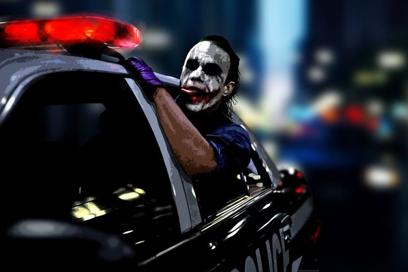 Clown Heath Ledger Police Cars The Dark Knight Joker