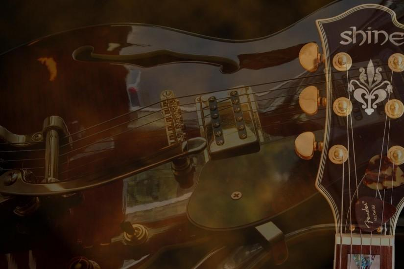 Guitar wallpaper, Shine semi-acoustic guitar, Gibson style