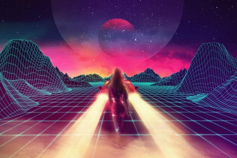New Retro Wave, Synthwave, 1980s, Neon, Car, Retro Games Wallpapers HD