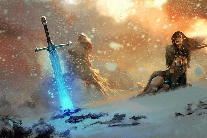Fantasy Art Magic Mountain Female Sword Wallpaper