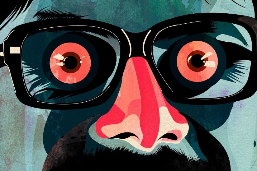 Face Eyes Glasses Mustache wide Desktop Wallpaper