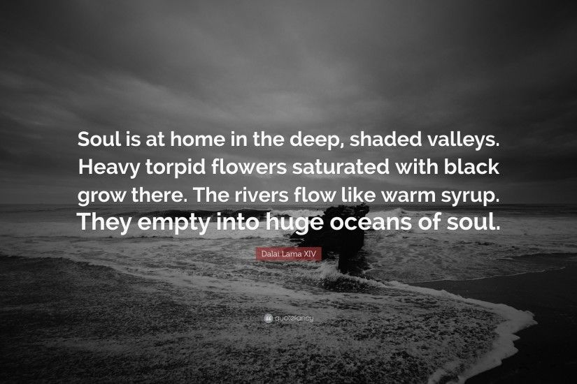 "Dalai Lama XIV Quote: ""Soul is at home in the deep, shaded valleys"