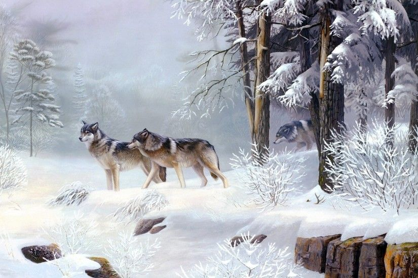 Wolf Pack In The Snowy Forest