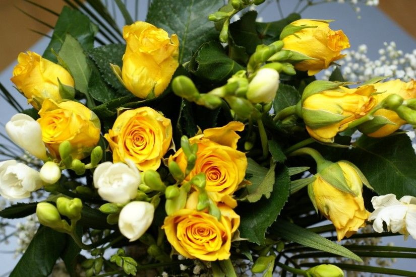 Flowers Bouquet Roses Yellow Wallpaper 2014 HD