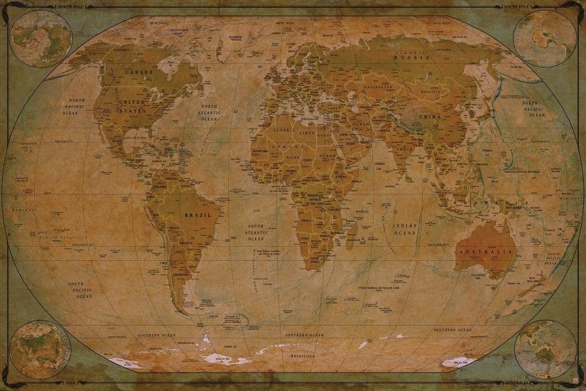 World map Atlas Globus - historic world map photo wallpaper - vintage retro  motif - XXL ...