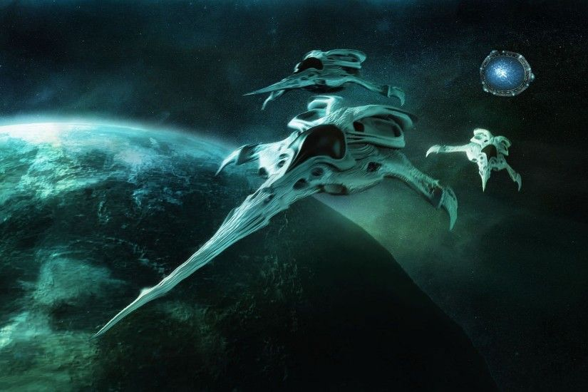 wallpaper fighter spaceship stargate from film turquoise planet.