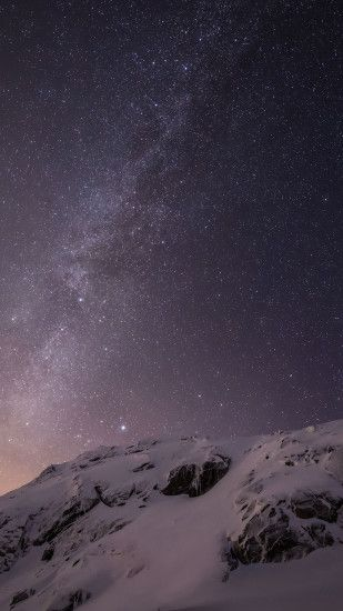 Starry Night Snow Mountain Stars Sky Android Wallpaper ...