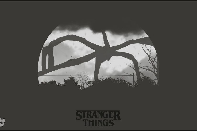 Stranger Things, Digital art, Monochrome Wallpaper HD